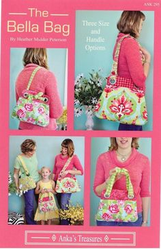 The Bella Bag Purse Pattern by Heather Mulder Peterson 3 sizes