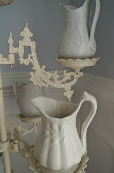 Ironstone Pitchers on Plant Stand (from Chateau Chic)