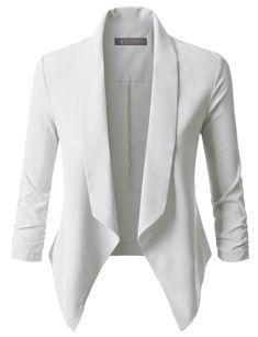 62b4a71341ab LE3NO Womens Lightweight Ruched 3/4 Sleeve Open Front Blazer Jacket Ρούχα  Για Το Χώρο