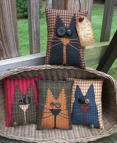 FOLK Art PrimiTive Fall ALLEY CAT Pillow Bowl Basket Fillers Buttons DecoraTion | Antiques, Primitives | eBay!