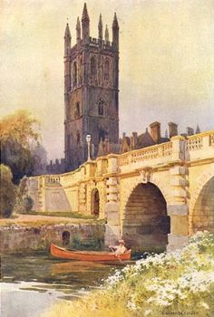 Magdalen Bridge and Tower. By Ernest Haslehust - 1920 - old antique vintage print - art picture prints of Oxford Oxford England, Day For Night, Old Antiques, Print Pictures, Great Britain, Landscape Art, Vintage Prints, Bridge, Art Prints