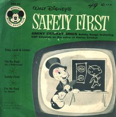 Safety First: Jiminy Cricket sings Safety Songs (I love Stop, Look and Listen and I'm No Fool). Jiminy Cricket, Baby Boomer, Mickey Mouse Club, Safety First, Kids Songs, Vintage Disney, Walt Disney World, The Fool, Singing