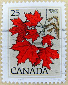 Stamps Canada 1977 - Trees of Canada - Red Leaves - Stamp: Sugar Maple (Acer saccharum) (Canada Postage Stamp) Canadian Memes, Canadian Things, I Am Canadian, Canadian History, Canada 150, Canada Post, Tampons, Mail Art, Toronto Canada