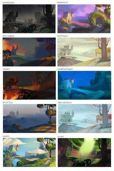 Color moods for landscape Digital Painting Tutorials, Digital Art Tutorial, Art Tutorials, Landscape Concept, Landscape Art, Environment Concept Art, Environment Design, Color Script, Animation
