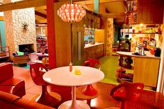 """After Janel at AT:Chicago raved about the interior design in Speed Racer we had to go take a look at the set's """"futuristic mid-century"""" kitchen. 1960s Kitchen, Vintage Kitchen, Retro Vintage, Retro Kitchens, Vintage Room, Vintage Stuff, Vintage Prints, Vintage Decor, Vintage Photos"""