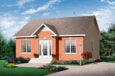 Elevation of Contemporary   Traditional   House Plan 64884  888 sq. ', 2/1 (no basement - convert stair area to storage)