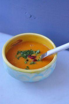 Carrot, lentil, coconut and ginger soup