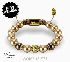 Nirbana Soul - Jacinta - Vintage Gold and Brown Shamballa Swarovski Pearl Bracelet A beautiful feminine pearl bracelet made from a collection of Swarovski eleme Bracelet Swarovski, Swarovski Pearls, Pearl Bracelet, Beaded Bracelets, Bracelet Making, Gold, Beautiful, Vintage, Jewelry