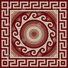 Abstract Pet Mats for Food and Water by Lunarable, Mosaic with Classic Greek Meander Ornament Fractal Antique Pattern, Rectangle Non-Slip Rubber Mat for Dogs and Cats, Ruby Burgundy Coral Cream -- Read more at the image link. (This is an affiliate link) Mosaic Stepping Stones, Pebble Mosaic, Mosaic Wall, Mosaic Tiles, Mosaic Designs, Stencil Designs, Mosaic Patterns, Antique Frames, Mosaic Garden
