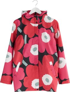 Marimekko Unikko Red and Black Small Rain Jacket in Bags and Wearables | Crate and Barrel