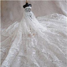 White Eyelash Lace Fabric 150cm-wide(59 inches) Wedding Dress Lace