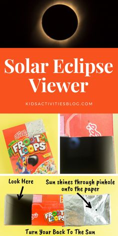 Just in time for the next solar eclipse, these step by step instructions show kids how to build a viewing device to watch the solar eclipse in a safe way. All you need is a cereal box, foil, white paper, scissors and tape!