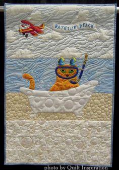 Bathtub Beach by Sandi MacMillan (Florida).  Cat face pattern by Sheila Haynes Rauen. 2015 World Quilt Show (Florida).