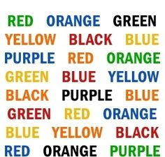 Try to say the color of each word, not the word itself. For instance, the first word would be green.  How it works: It's challenging, right? While you're using the right side of your brain to say the color, the left side of your brain tries to make you say the word. Optical Illusions and Brain Benders - Grandparents.com