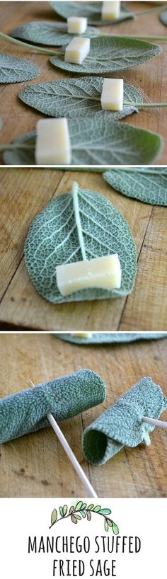 Fresh sage leaves are wrapped around chunks of Manchego cheese and quick fried for a delicious tapas style appetizer - something elves would eat no doubt Yummy Appetizers, Appetizers For Party, Appetizer Recipes, Sage Recipes, Cheese Rolling, Snacks Für Party, Appetisers, Diy Food, Cooking Recipes