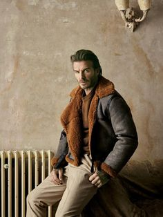 Kent & Curwen leather and shearling aviator jacket, £1,795, wool-mix jumper, £285, and cotton trousers, £250