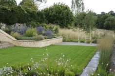 Contemporary valley garden by West and South of England designer Amanda Patton MSGD Cottage Garden Design, Garden Landscape Design, Formal Gardens, Outdoor Gardens, Modern Gardens, Natural Garden, Garden Inspiration, Garden Ideas, Old Farm