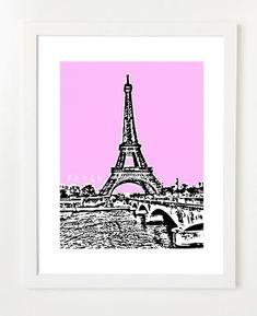 Paris France Art Print  Eiffel Tower Art Print  by BugsyAndSprite, $20.00
