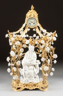 Decorative Arts, French, A LOUIS XV-STYLE BLANC DE CHINE AND GILT BRONZE FIGURAL CL...