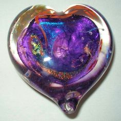 VALENTINE Iridescent DICHROIC Glass PAPERWEIGHT HEART Signed UNIQUE Color COMBO