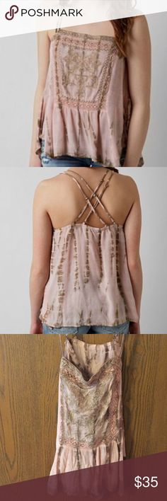 Gimmicks by Buckle pink/tan die dye tank sz L Runs a little smaller becayse it is a shorter skimmer style tank. Super cute on, love the criss cross back. Only worn about twice. Buckle Tops Tank Tops
