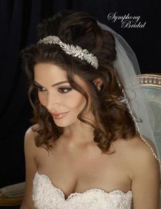 Vintage Inspired Wedding Headband 7302CR by Symphony Bridal - Affordable Elegance Bridal -