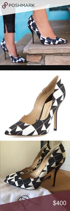"NEW PAUL ANDREW Geometric Zenadia Pumps sz 41 Guaranteed Authentic. Org retail: $700. New, never worn. Comes with 2 dust bags. Geometric black/white crepe design. 4"" heel. Made in Italy. Open to offers through the offer button ☺️ Paul Andrew Shoes Heels"