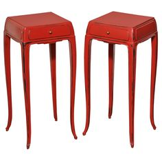Art Deco Pair of Lacquered End Tables by Jean Dunand | From a unique collection of antique and modern side tables at http://www.1stdibs.com/furniture/tables/side-tables/