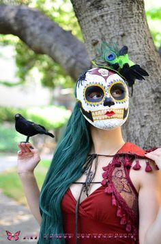DIY paper mache or Raven Miss Witch Day of the Dead Skull Mask by HikariDesign, $125.00