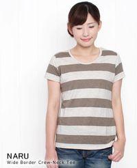 (メール便OK) NARU ナル ワイドボーダークルーネックTシャツ 4色 616475
