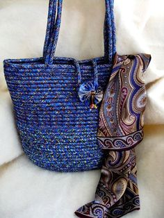 Coiled Rope Tote  Marine Blue  Magnetic Closing by SallyManke, $75.00