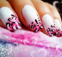 White / Pink Leopard Print AirBrush Nails ♥
