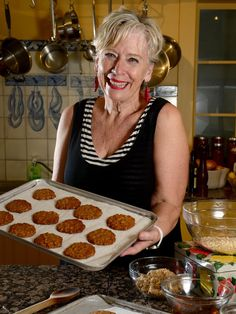 Maggie Beer at her Pheasant Farm, Nuriootpa with her homemade Anzac biscuits. Pic: Tricia Watkinson.