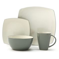 @Overstock.com - Gibson Home Soho Lounge Celadon 16-piece Dinnerware Set - This Gibson Home Soho Lounge dinnerware set is constructed of stoneware in a contemporary two-tone color scheme. This 16-piece set is dishwasher-safe and serves four with dinner plates, dessert plates, bowls and mugs.    http://www.overstock.com/Home-Garden/Gibson-Home-Soho-Lounge-Celadon-16-piece-Dinnerware-Set/7894418/product.html?CID=214117  $68.99