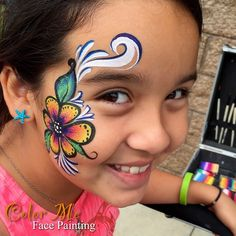One-stroke Flower Face Painting - Vanessa Mendoza Color Me Face Painting