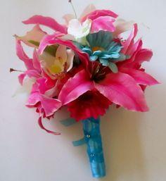 aqua blue and fuschia bridal bouquets | Hot Pink and Aqua Blue Bridal Bouquet Pink  @Avant Garden Floral @DeShundra Speight