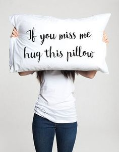 If you miss me hug this pillow (1 piece) Let into your home a little pillow that will remember you about your friend, boyfriend or girlfriend! That is some special long distance relationship or friendship gift, dont say that you miss your love, just hug the pillow and smile with that! :) All pillowcases made with love and are 100% handmade. This hand drawing is very pleasant to the skin and do not interfere with sleep, as the fabric absorbs the paint and doesn't remains on its surface…