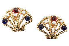 1980s Trifari Cabochon Shell Earrings