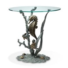 Beauty of The Sea Accent Glass End Table Ocean Coastal Nautical Mermaid | eBay  SPI - Home