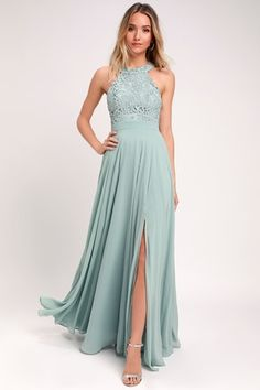 9cb84ae88 Picture Perfect Sage Green Lace Maxi Dress Fall Bridesmaid Dresses