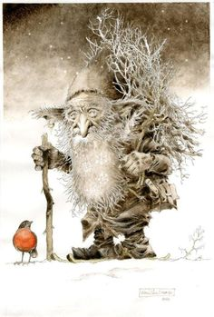 Art by Rene' Hausman / Tomten, a Scandinavian mythical figure, walking alone and awake on Christmas night, pondering the mysteries of life and death . (Caption added by Jacqueline Prince). Illustration, Drawings, Fantasy Art, Painting, Fantasy Creatures, Art, Fairy Art, Fairy Tales, Elves