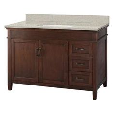 Home Decorators Collection Ashburn 49 in. W x 22 in. D Vanity in Mahogany with Engineered Marble Vanity Top in Sedona with White Sink - The Home Depot Quartz Vanity Tops, Granite Vanity Tops, Marble Vanity Tops, Basin Cabinet, Vanity Cabinet, Cabinet Doors, Dark Brown Cabinets, Mahogany Cabinets, Concealed Hinges