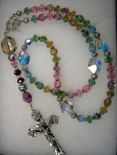 unique rosary | Above design features genuine Swarovski crystal.