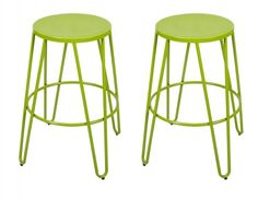 Metal Stackable Round Top Backless Barstools   (Set of 2)