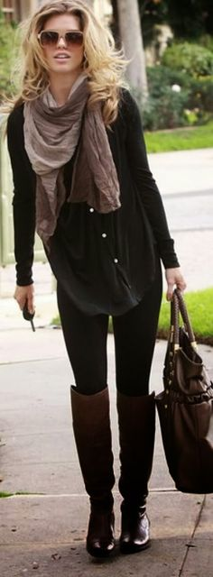 All Black Fall Outfit With Scarf