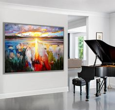 "Modern Art Seascape Painting Sunset Ocean 36x48""/90x120cm Large Art"