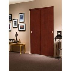 Impact Plus 72 in. x 96 in. Smooth Flush Solid Core Cherry Matching Trim MDF Interior Closet Sliding Door - CS3426080 - The Home Depot