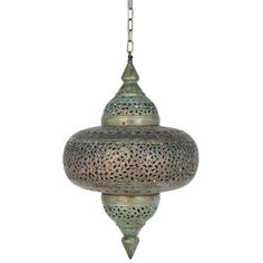 Morocco Inspired... Add a hint of the Moroccan Souk with this finished antique brass  pendant. When lit up this stunning pendant creates an  atmospheric glow with beautiful patterns from the cut out detail.Dimensions: 320x320x460