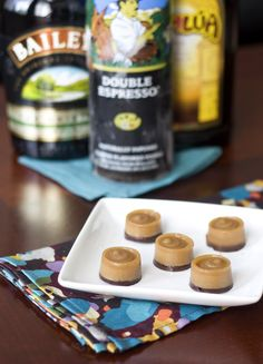 Mudslide Jello Shots...1/3 cup Kahlua liquor, 1/3 cup Bailey's liquor, 2/3 cup Half and Half, 2 envelopes plain gelatin, 1/3 cup Vodka, 1/2 cup chocolate chips...