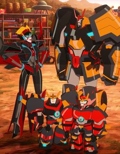 "Transformers Robots in Disguise Windblade, Drift, Jetstorm and Slipstream (from ""Battlegrounds, Part Sorry for that, but they look like family! Transformers Autobots, Transformers Characters, Transformers Optimus Prime, Beast Machines, Metroid, Mega Man, Teen Titans, Kawaii, Spiderman"